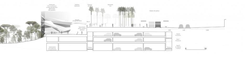 coupe sur grand parking et esplanade