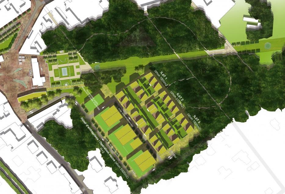 plan de composition d'ensemble du nouveau quartier