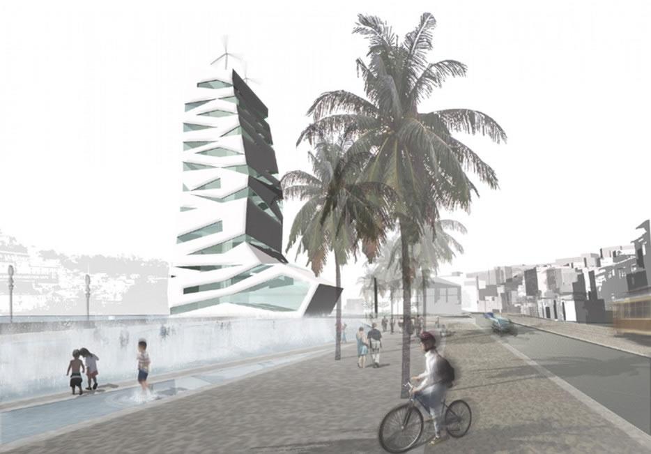 Le parvis qui réaffirme la présence de l'ancien lit du Douro. En fond l'image d'un nouvel hôtel qui complète les équipements de la façade urbaine.