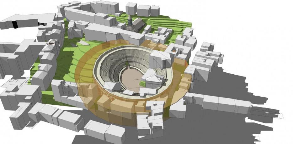 simulation 3D de l'amphithéatre in situ